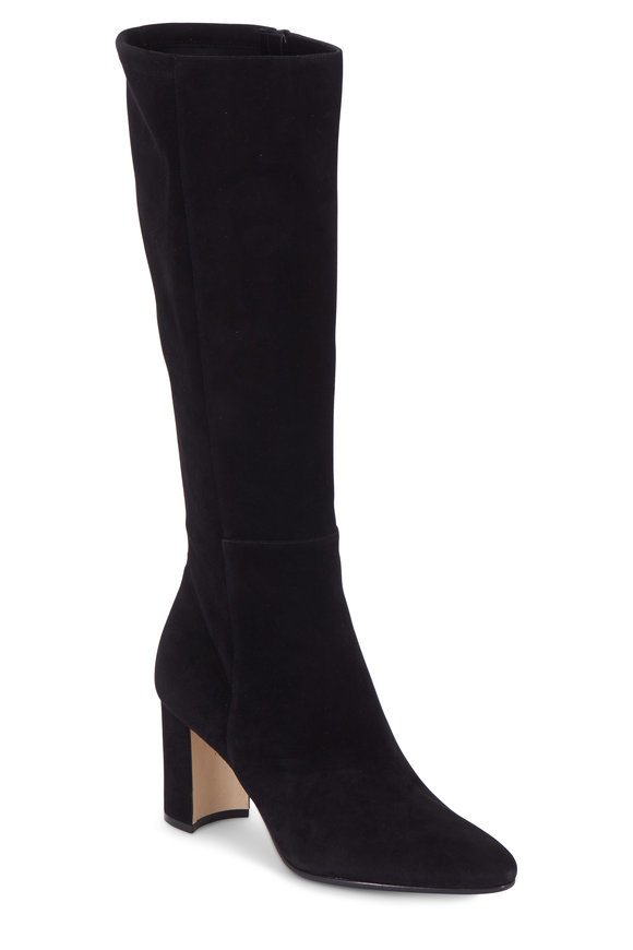 Manolo Blahnik Pita Black Stretch Suede Knee High Boot, 70mm