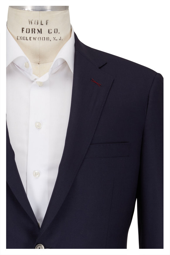 Samuelsohn Bennet Solid Navy Blue Wool Sportcoat