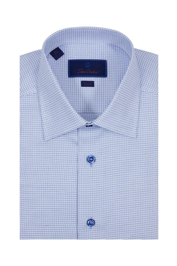 David Donahue Solid Blue Grid Check Trim Fit Dress Shirt