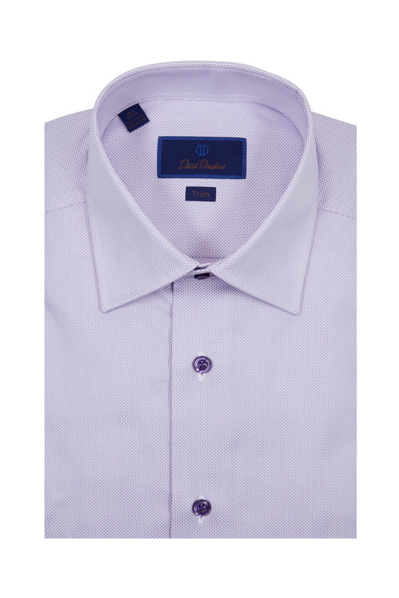David Donahue Solid Lilac Textured Trim Fit Dress Shirt