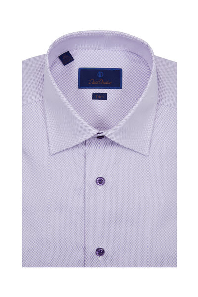 David Donahue - Solid Lilac Textured Trim Fit Dress Shirt