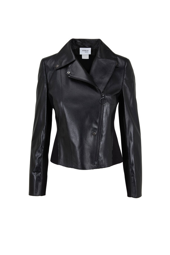 Akris Punto Black Perforated Lambskin Leather & Jersey Jacket