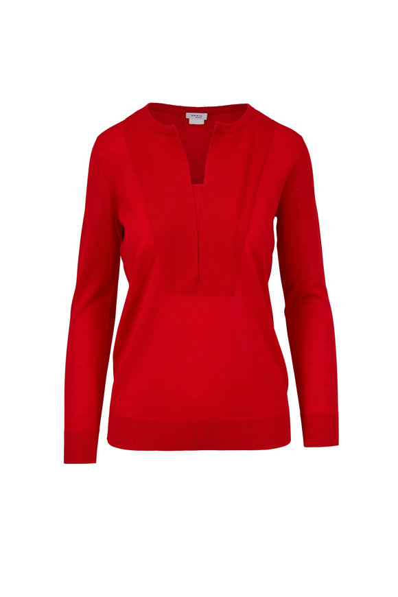 Akris Punto Lipstick Red Wool Split Neck Sweater