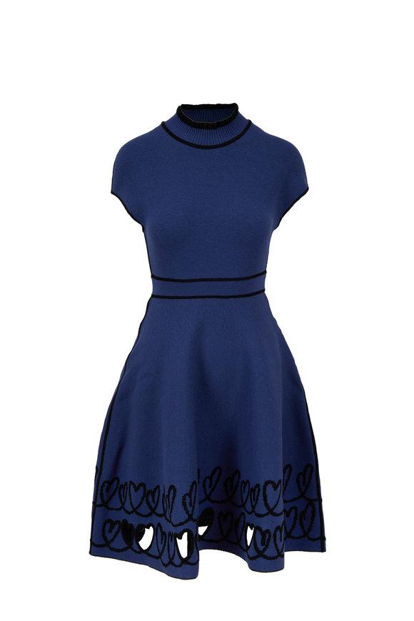 Fendi Blue & Black Knit Heart Cut-Out Reversible Dress