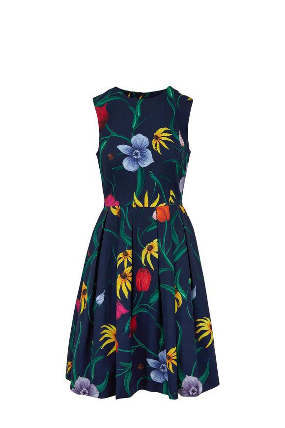 Carolina Herrera Dark Navy Floral Stretch Faille Sleeveless Dress
