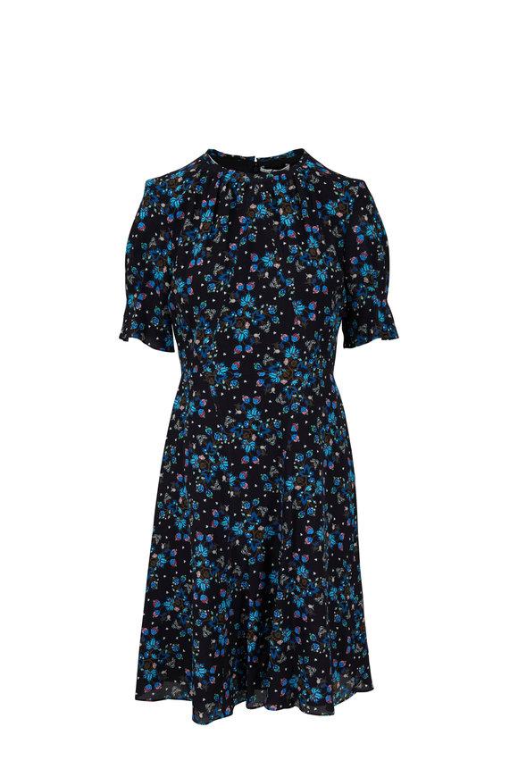 Altuzarra Jae Black Floral Silk Gathered Dress