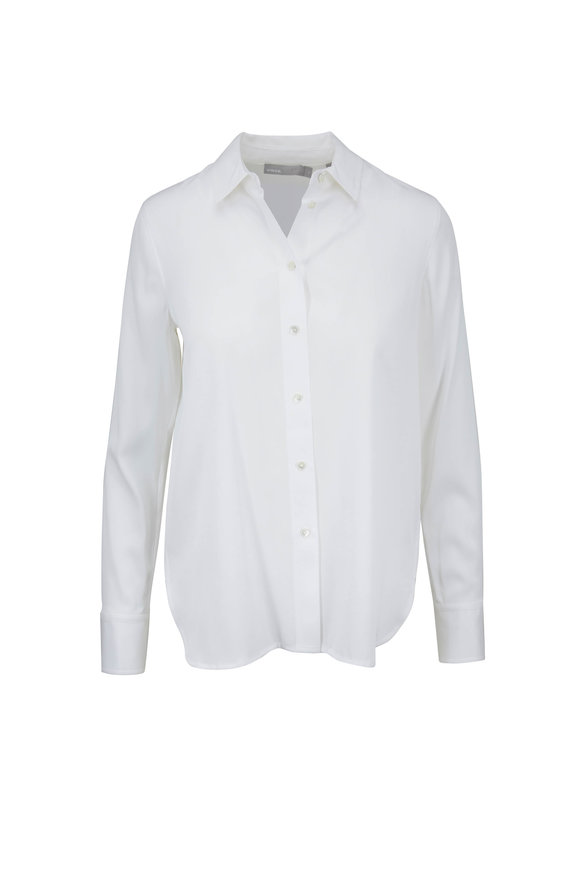Vince White Stretch Satin Slim Fit Blouse
