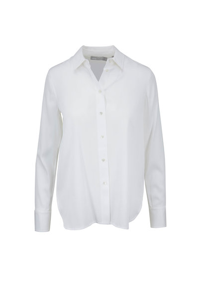 Vince - White Stretch Satin Slim Fit Blouse