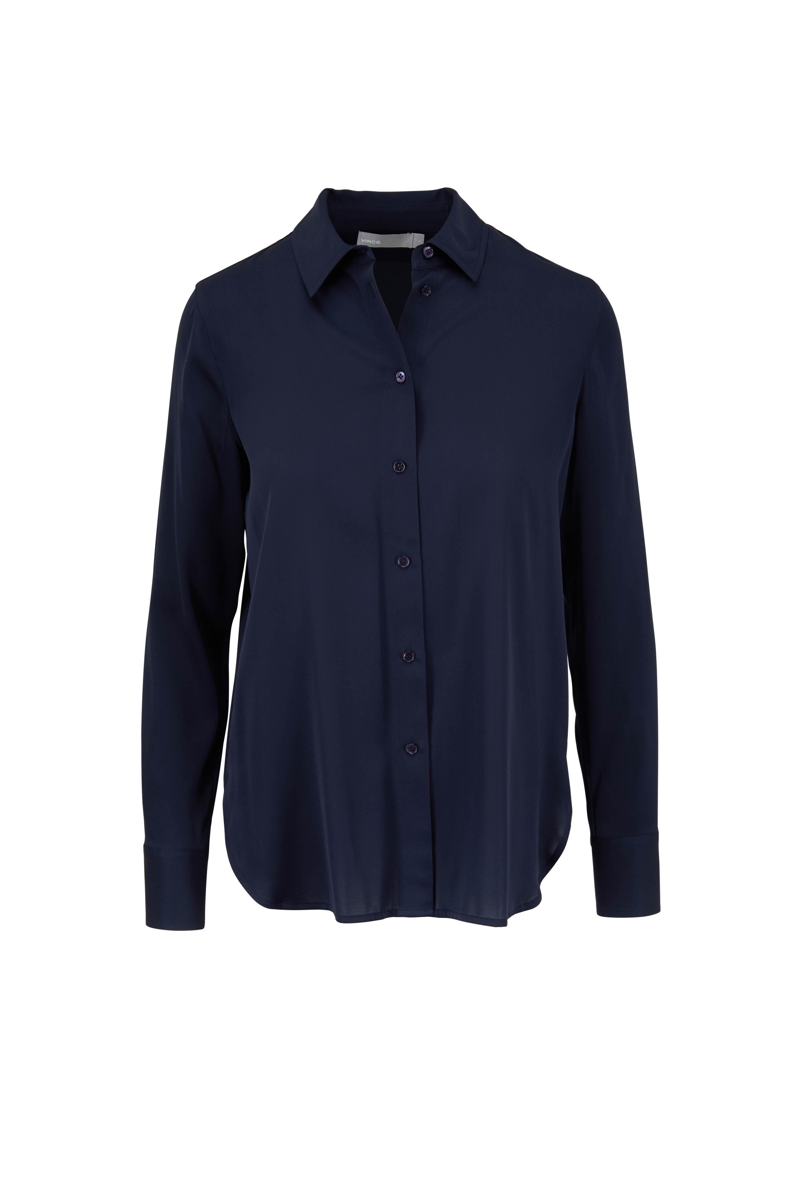 97de4276ba4ff6 Vince - Coastal Blue Silk Blouse