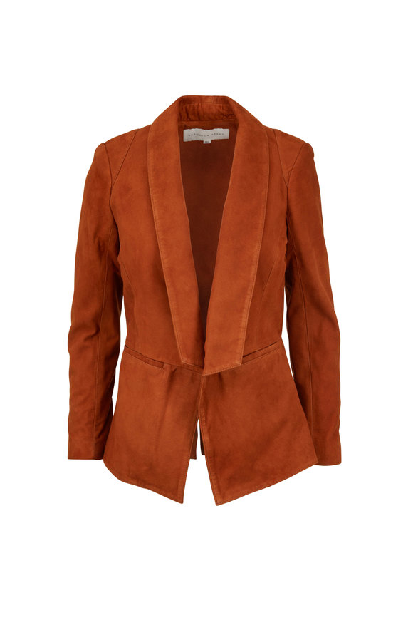 Veronica Beard Marten Cognac Suede Shawl Collar Jacket