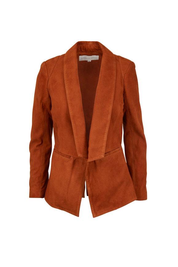 Veronica Beard Marten Cognac Suede Shawl Collar Jacket