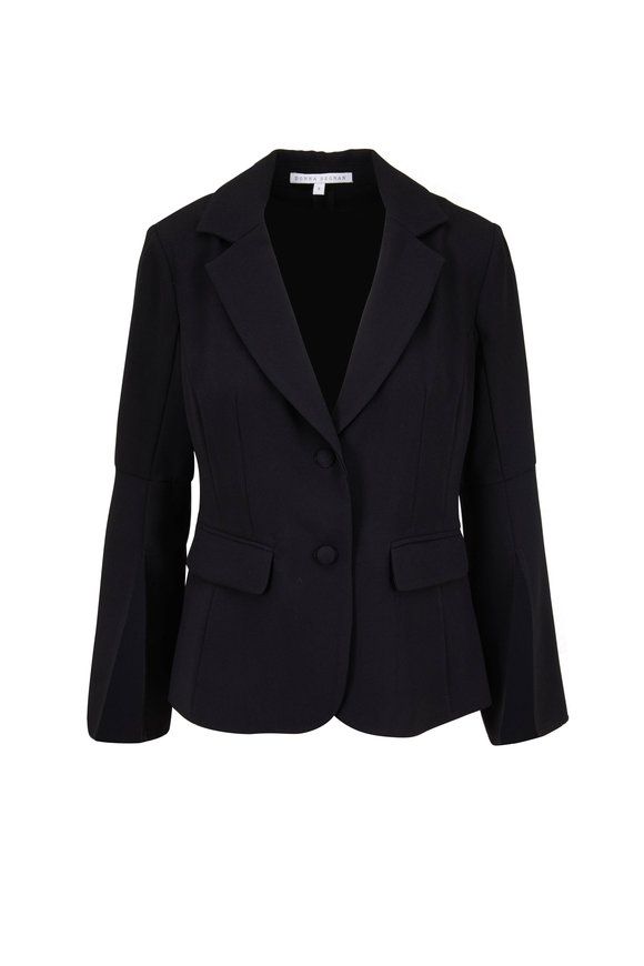 Donna Degnan Black Slit Cuff Double Button Blazer