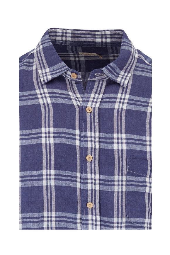Faherty Brand Ventura Navy Linen Plaid Sport Shirt