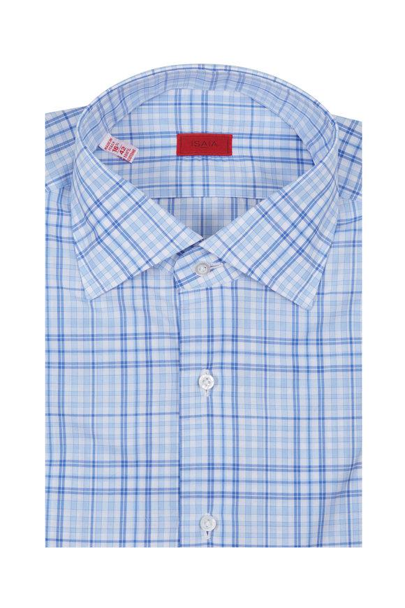 Isaia Blue Plaid Dress Shirt