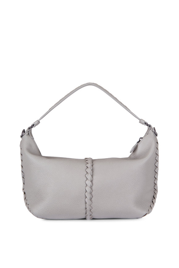 Bottega Veneta Cement Grey Braided Small Hobo