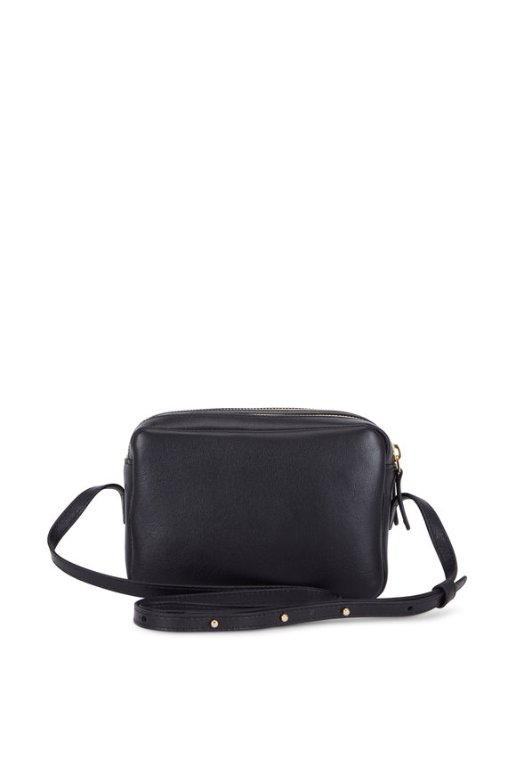Mansur Gavriel Black Leather Double-Zip Crossbody Bag