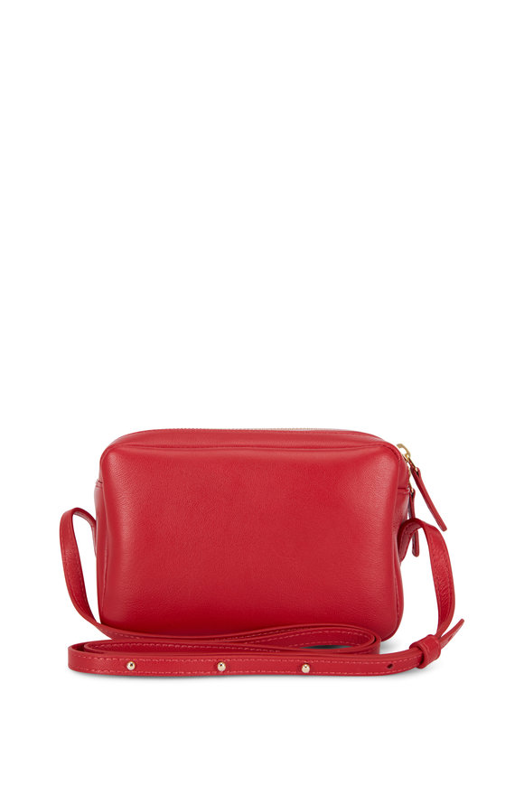 Mansur Gavriel Flaming Red Leather Double-Zip Crossbody Bag
