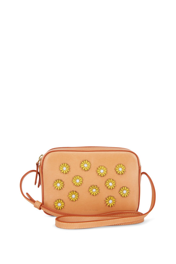 Mansur Gavriel Camel Leather Sunflower Double-Zip Crossbody Bag