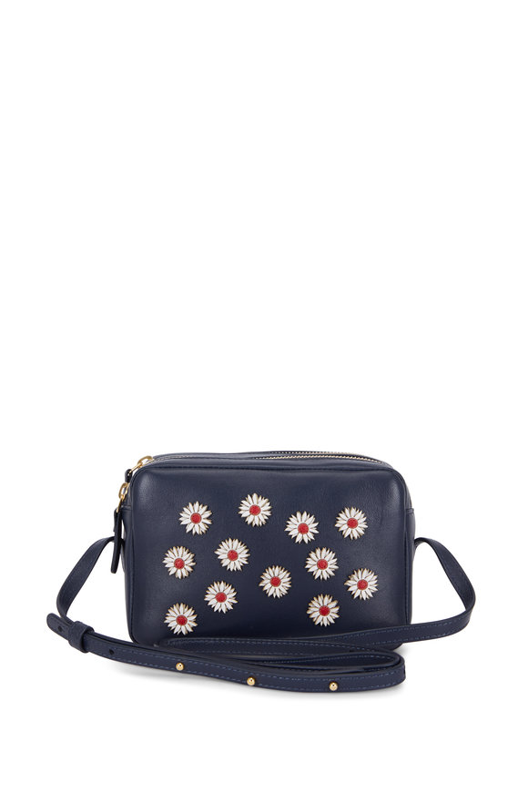 Mansur Gavriel Navy Leather Sunflower Double-Zip Crossbody Bag