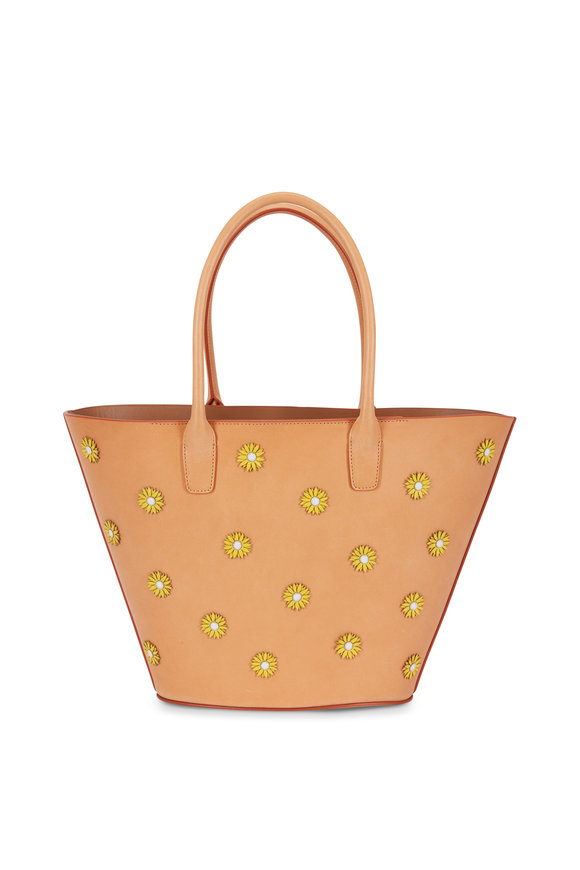 Mansur Gavriel Triangle Camel Leather Sunflower Patch Tote