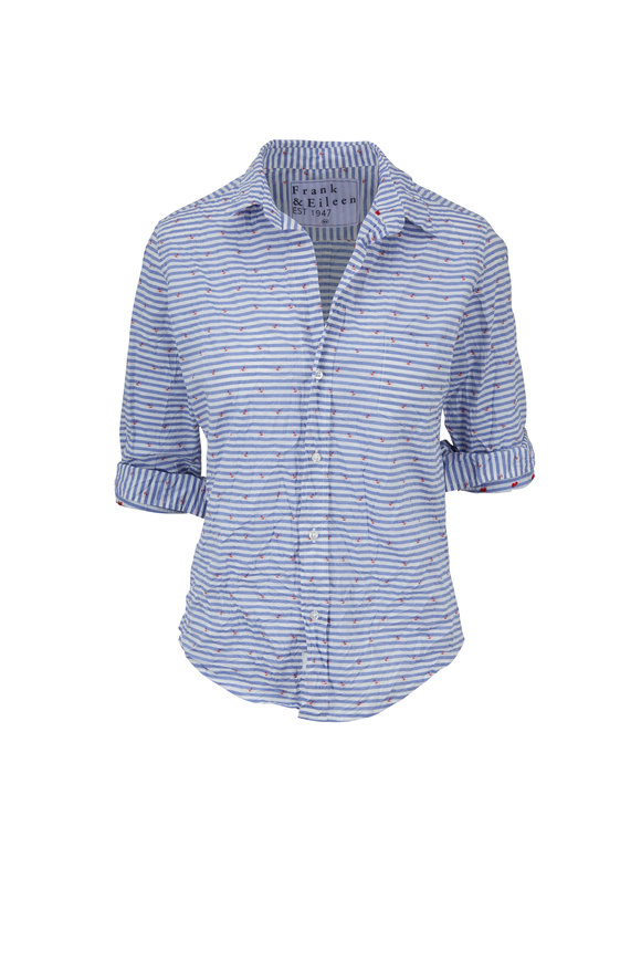 Frank & Eileen Barry Blue Striped Small Anchors Button Down