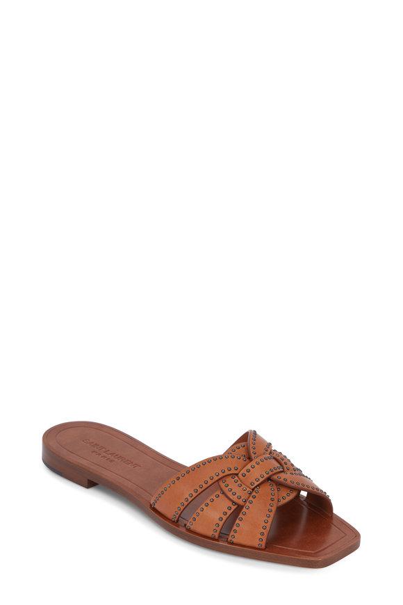 Saint Laurent Nu Pieds Tribute Tan Studded Flat Sandal