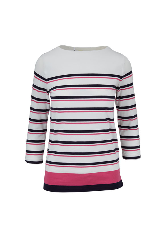 Bogner Jaime White, Navy & Pink Striped Boatneck Top