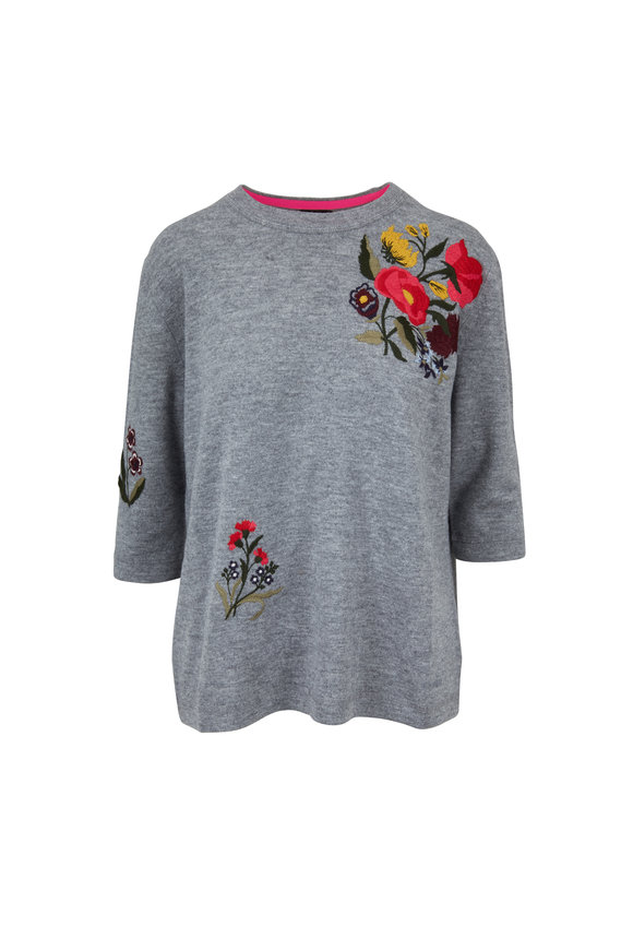 Bogner Kasia Gray Embroidered Sweater