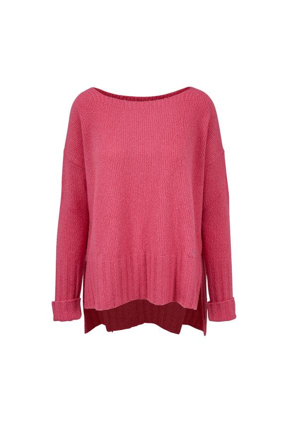 Bogner Melly Pink Textured Drop Shoulder Sweater