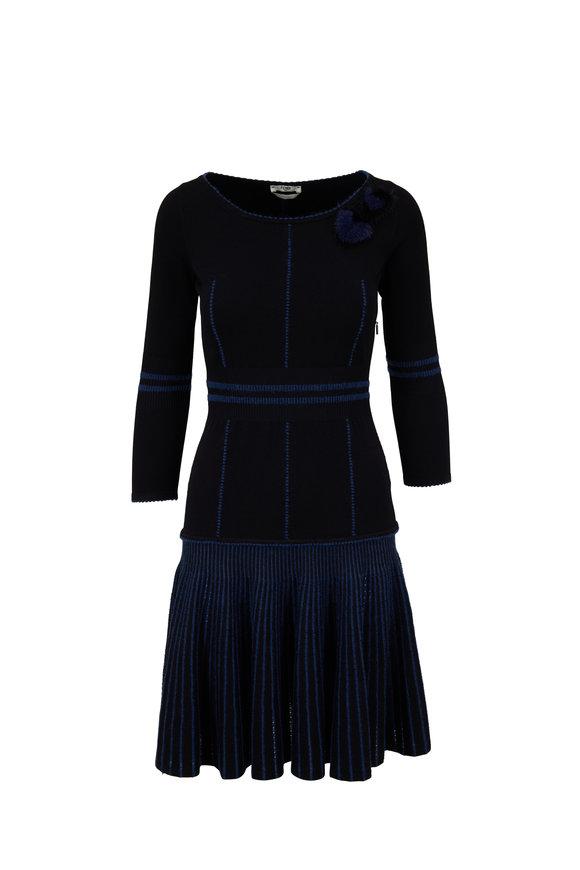 Fendi Black & Blue Knit Fur Heart Detail Dress