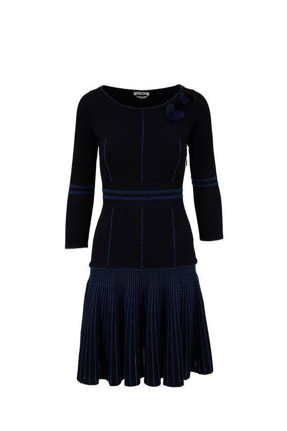 Fendi Black & Blue Knit Fur Heart Detail Dress