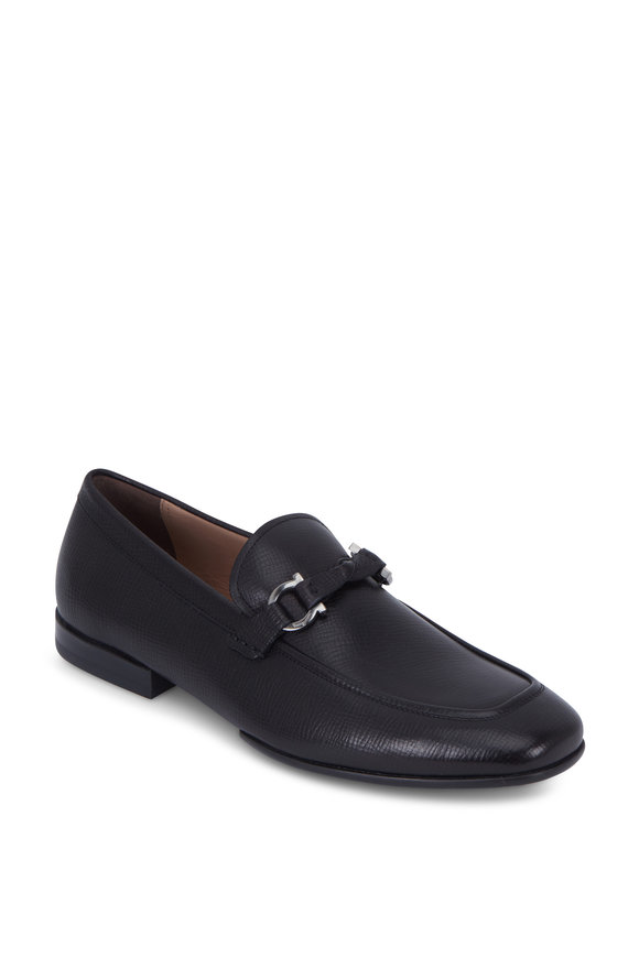 Salvatore Ferragamo Barry Black Pebbled Leather Bit Loafer