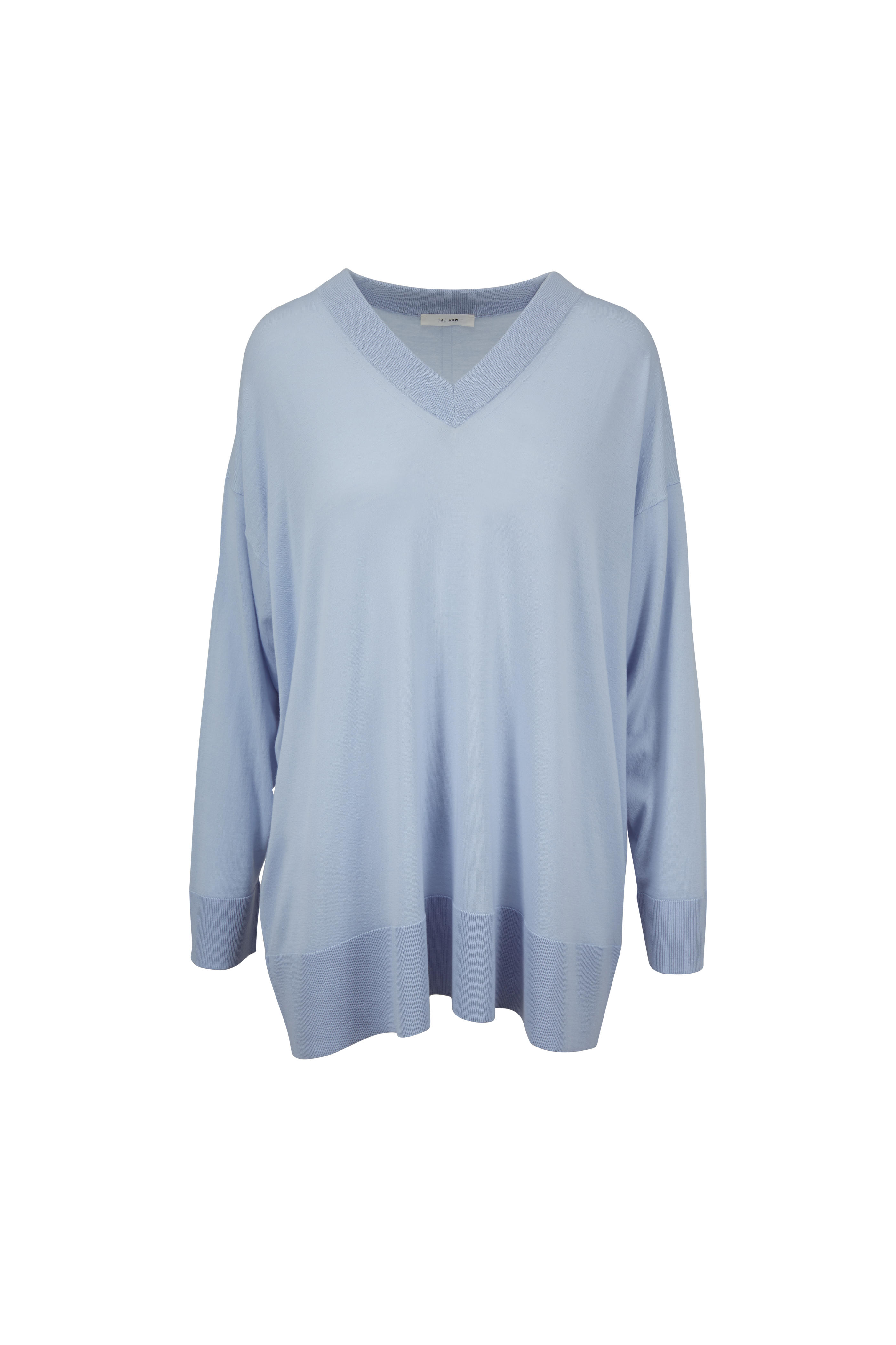 e92ae89636123 The Row - Sabrinah Ice Blue Oversized V-Neck Sweater | Mitchell Stores