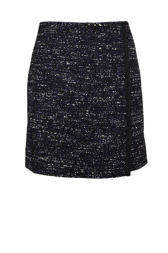 Adam Lippes Navy Blue Tweed Wrap Mini Skirt