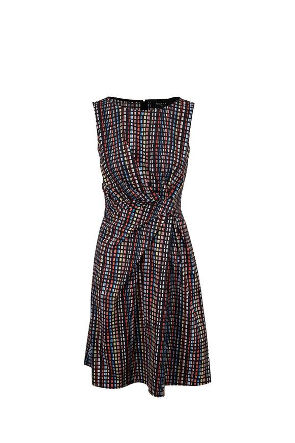 Paule Ka Plaid Checked & Striped Poplin Sleeveless Dress