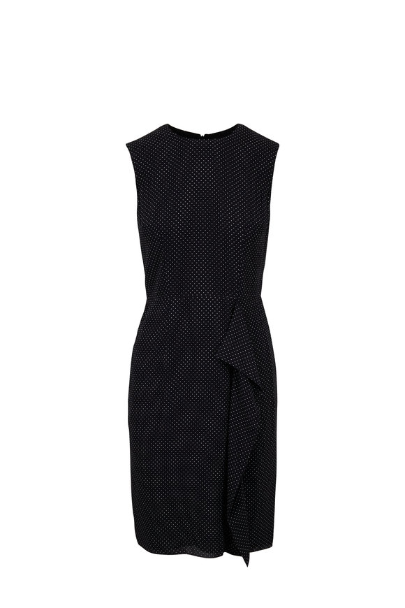 Paule Ka Black & White Micro Dot Ruffled Sleeveless Dress