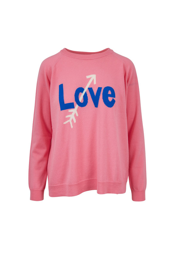 Chinti & Parker Pink Cashmere LOVE ARROW sweater