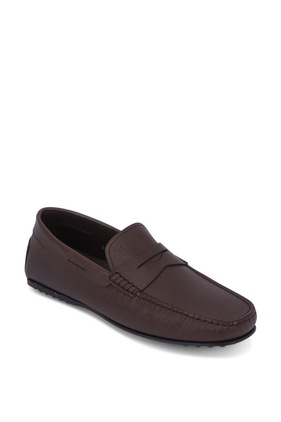 Tod's Gommini Dark Brown Grained Leather Penny Loafer