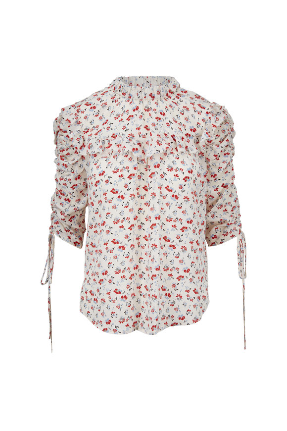 Veronica Beard Howell White Stamped Floral Print Ruffle Blouse