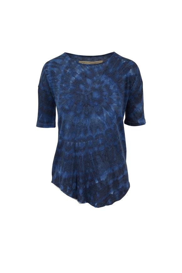 Raquel Allegra Ocean Blue Printed Basic T-Shirt