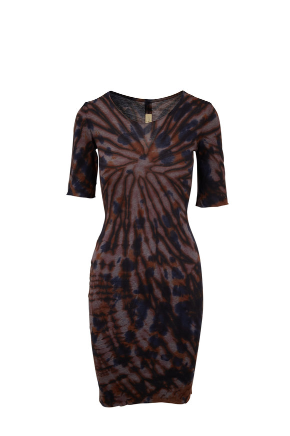 Raquel Allegra Black Tie-Dye Short Sleeve Dress
