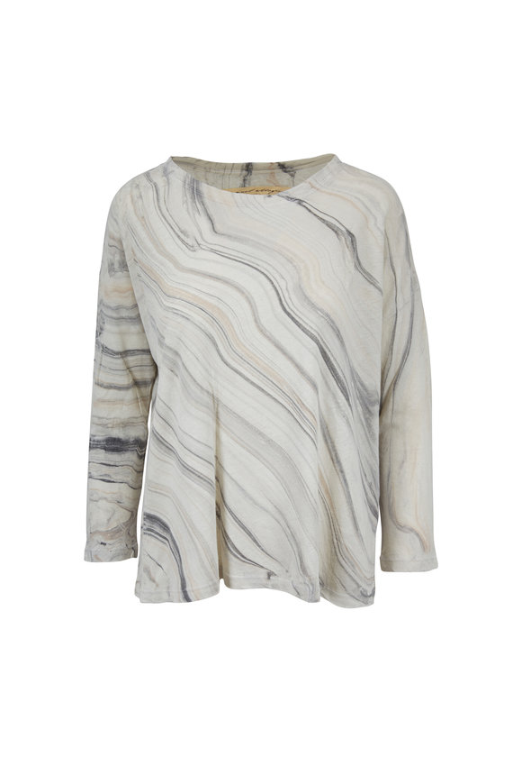 Raquel Allegra Smoke Waves Marble Raglan Sleeve Top
