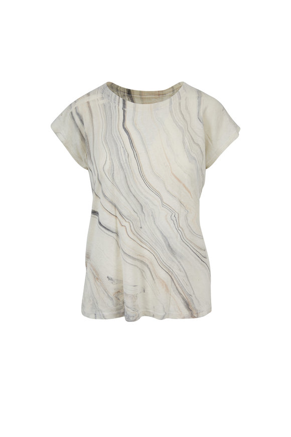 Raquel Allegra Smoke Gray Waves Marble T-Shirt