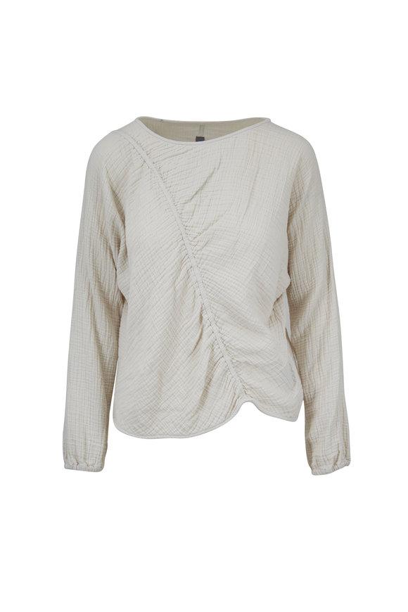 Raquel Allegra Dirty White Cotton Cinch Sweatshirt