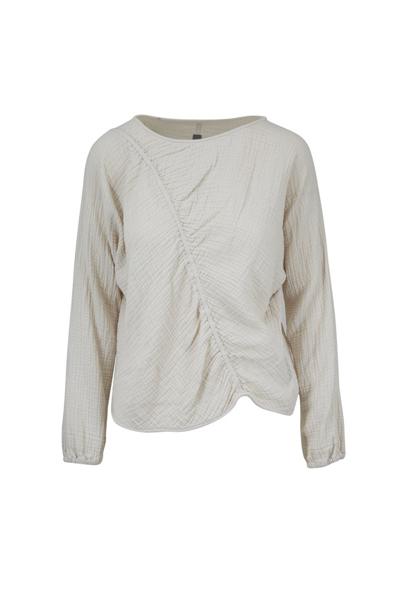 Raquel Allegra Dirty White Cotton Cinch Sweatshirt