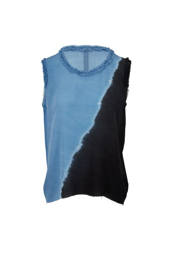Raquel Allegra Ocean Blue Silk Ruffle Muscle Tee