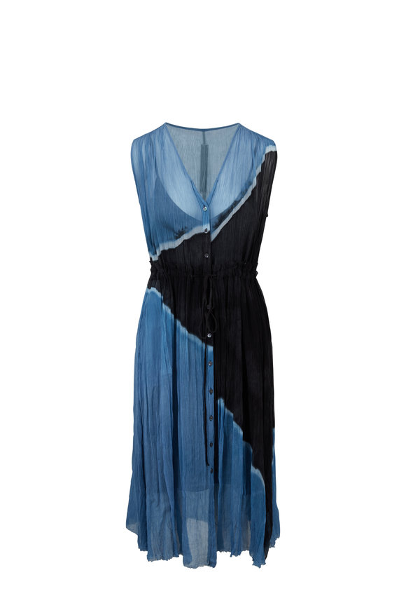 Raquel Allegra Ocean Crinkle Silk Button-Up Desert Dress
