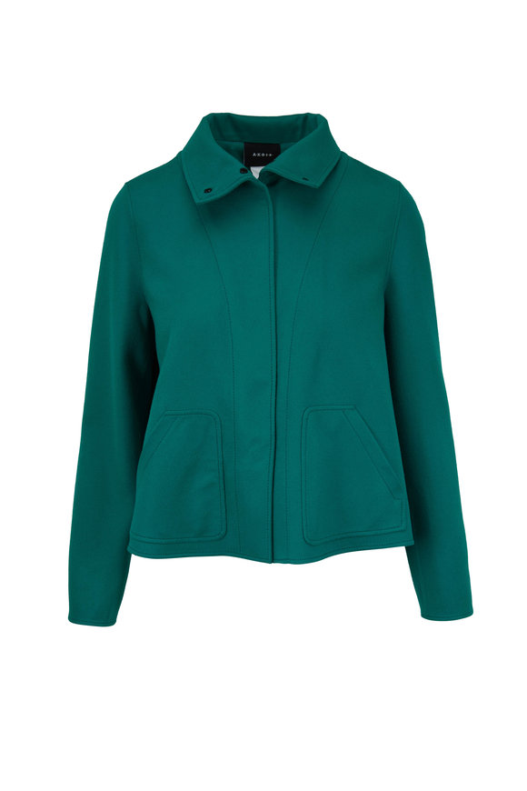 Akris Rachel Jade Green Back Pleat Swing Jacket