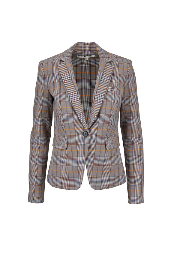 Veronica Beard Lawson Brown Plaid Schoolboy Dickey Jacket