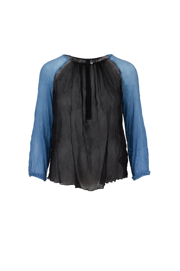 Raquel Allegra Blue & Black Silk Gauze Dreamer Blouse